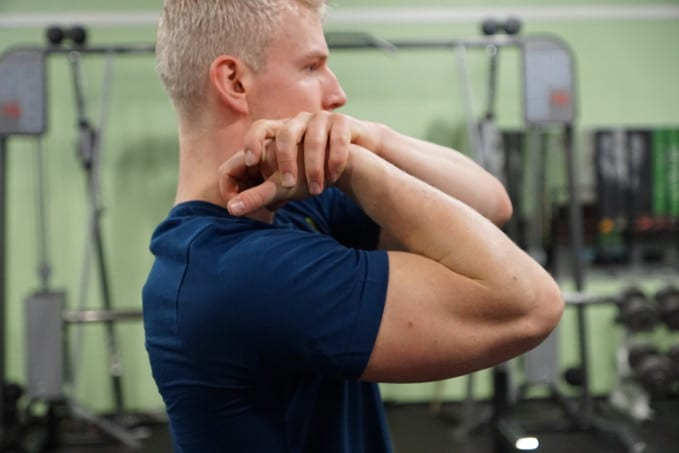 elbow mobility joint stretch for improving your muscle up strength