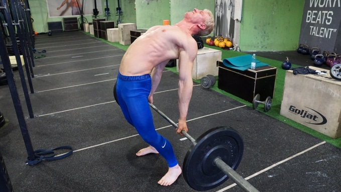 barbell back bend for thoracic