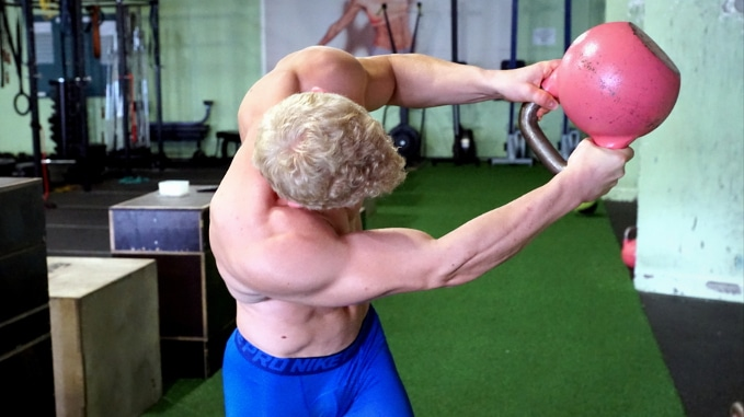 explosive rotational strength with a kettlebell rotation