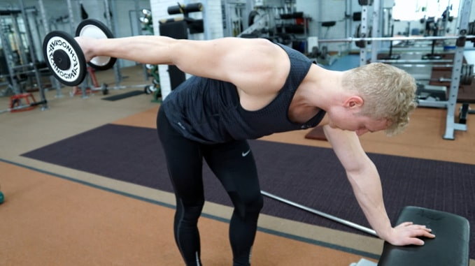 dumbbell kickback for tricep mobility
