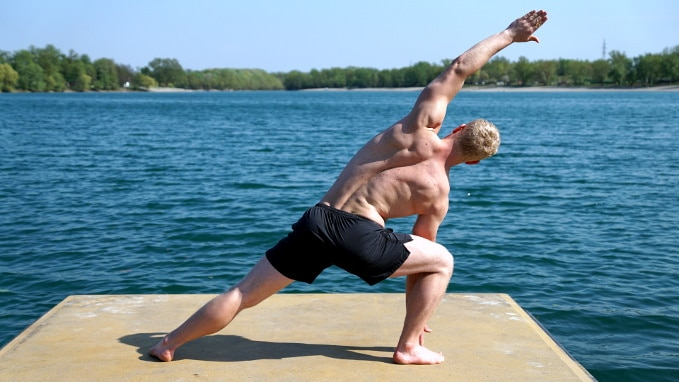 warrior reach pose yoga
