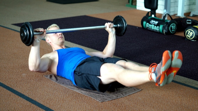 hollowbody barbell press for core stability