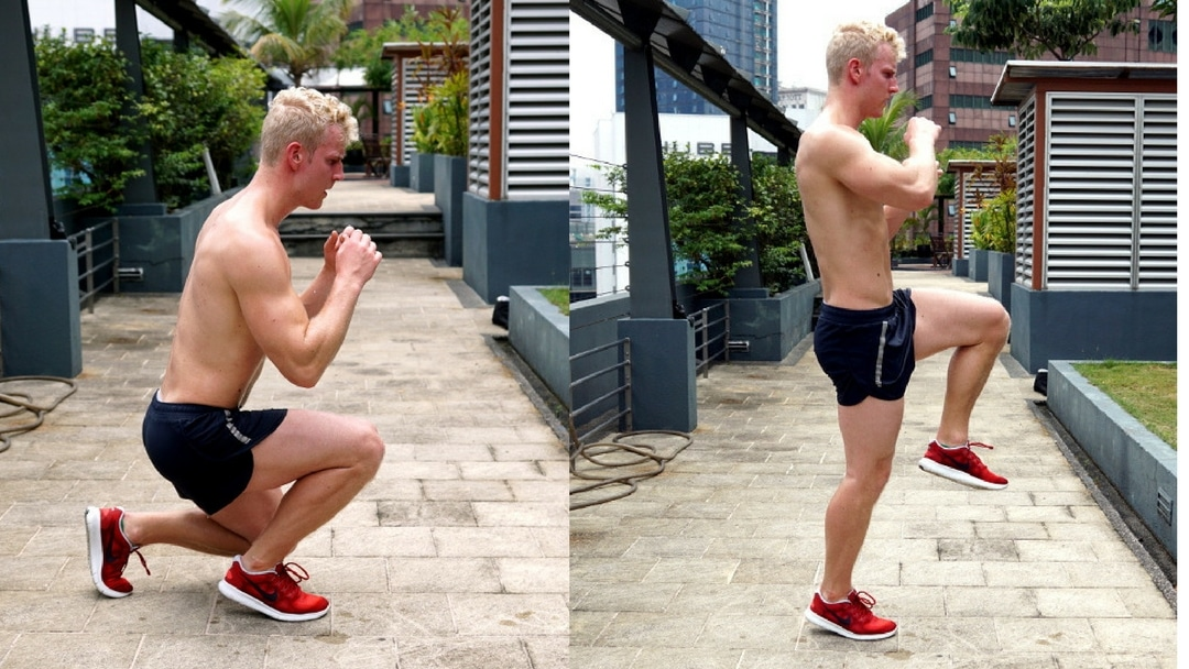 boxer squat knee raise