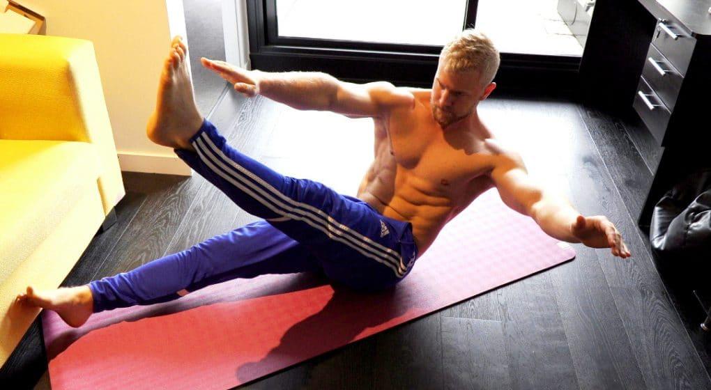 cross arm crunch for v-cut abs