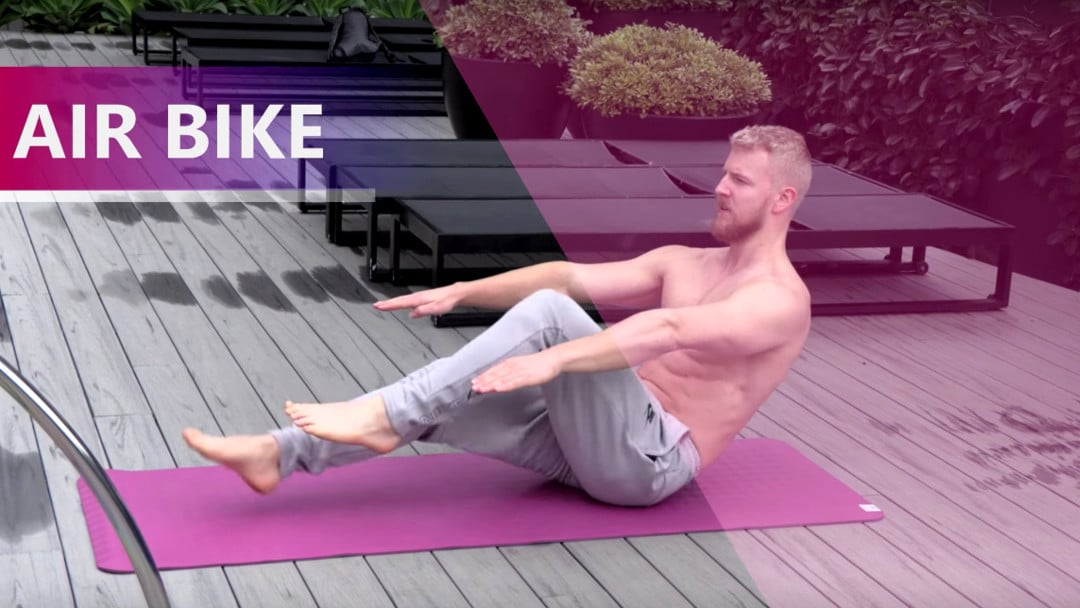 air bike abs exercise athlete core