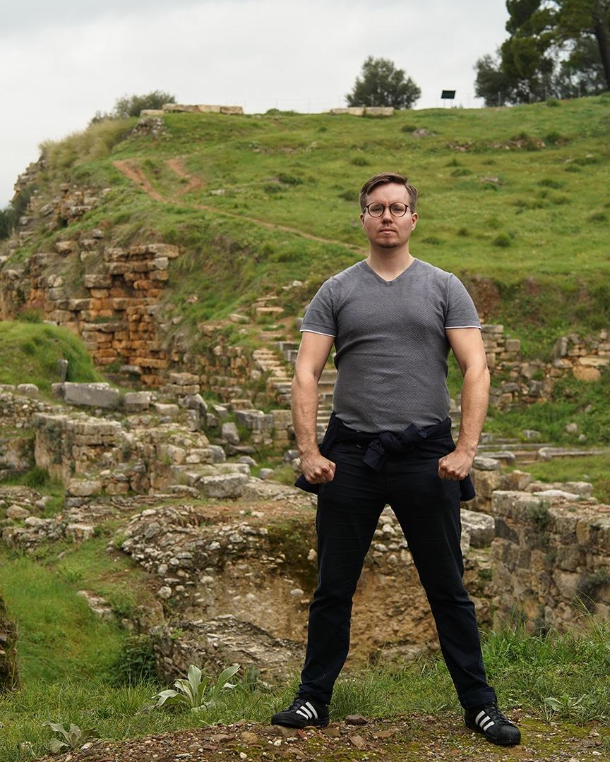 Ruins of Sparta behind Samuli