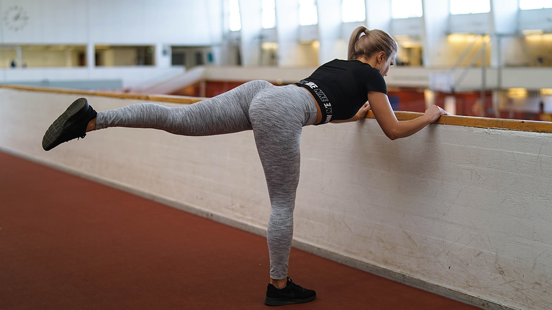 supported donkey kick for glutes and hips