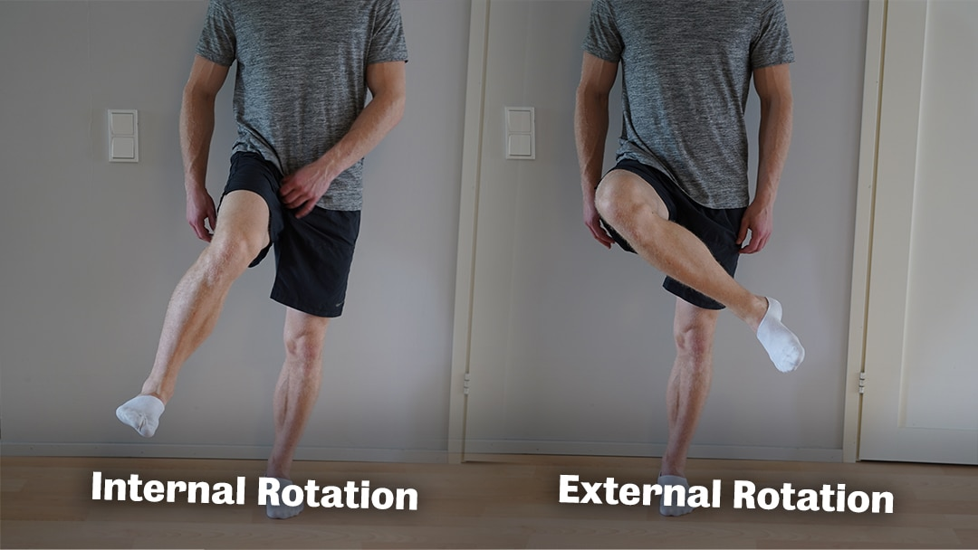 internal and external rotation of the hip