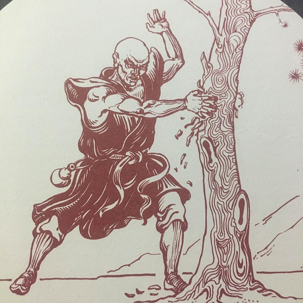 shaolin monk tearing up a tree with iron hand